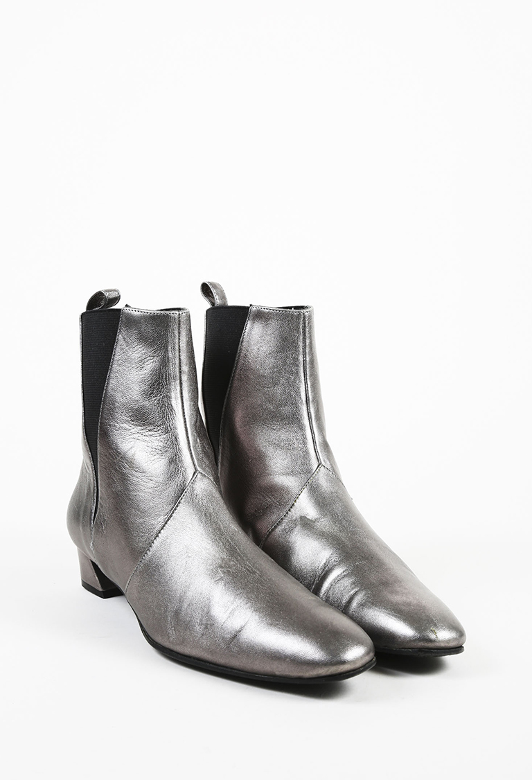 Silver Leather Low Heel Ankle Boots
