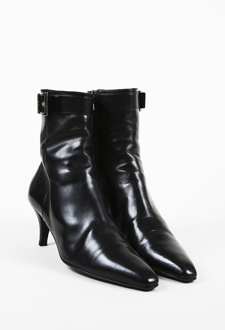 Black Leather Pointed Toe Silver Tone Buckled Ankle Boots