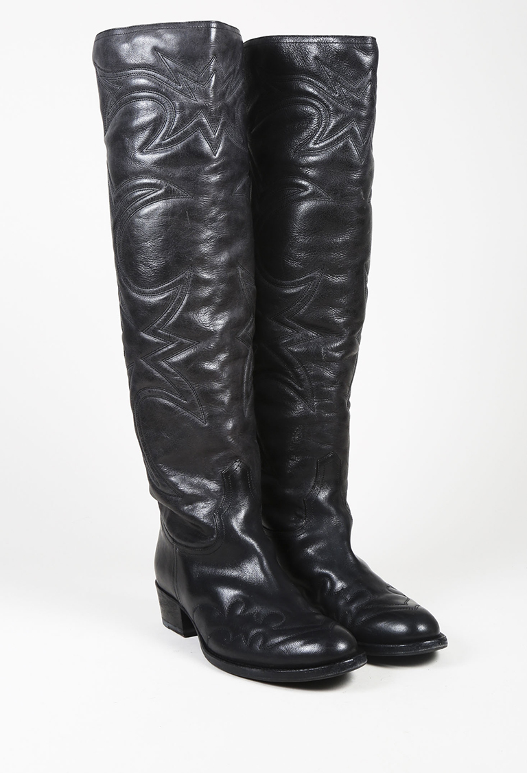 Collection Black Leather Over the Knee Western Boots