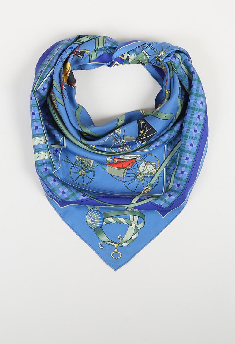 "Multicolor Twill ""Les Voitures Nouvelles"" Printed Scarf"