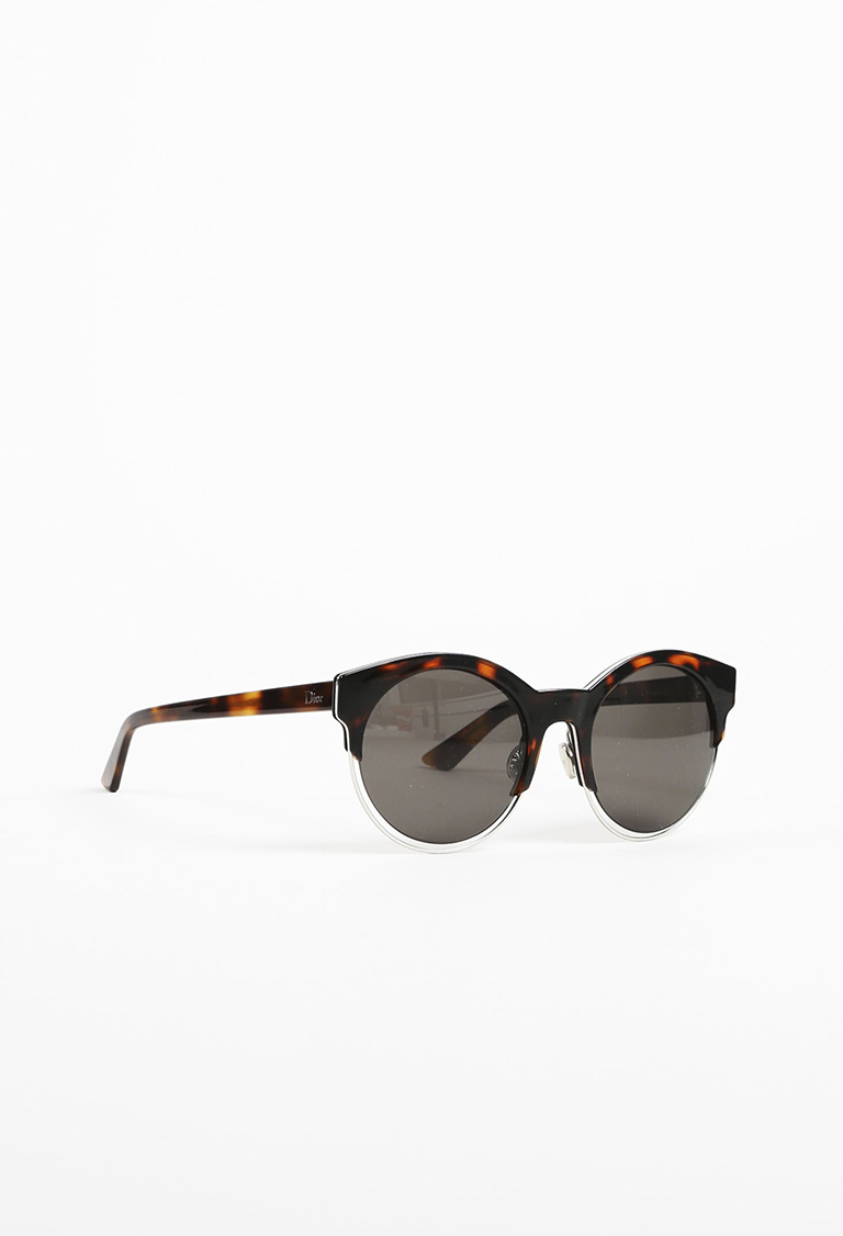 """Brown Tortoise Shell """"Dior Sideral1""""  Round Sunglasses"""