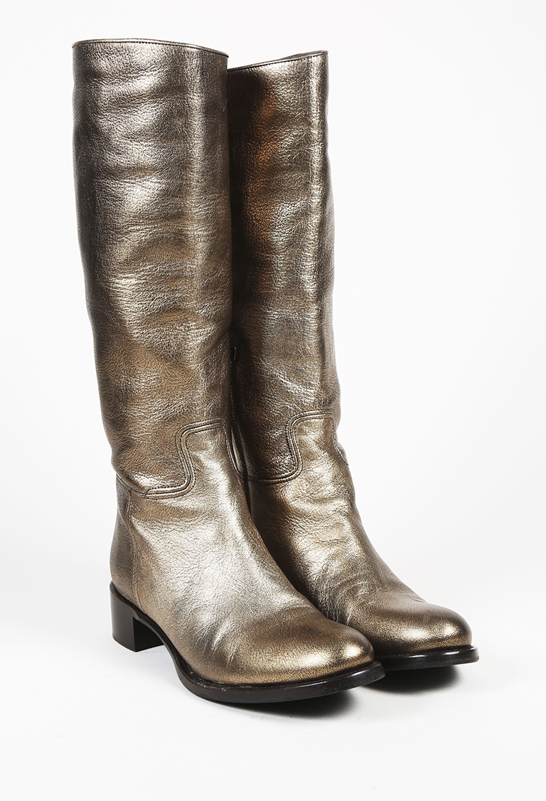 Metallic Gold Leather Knee High Boots