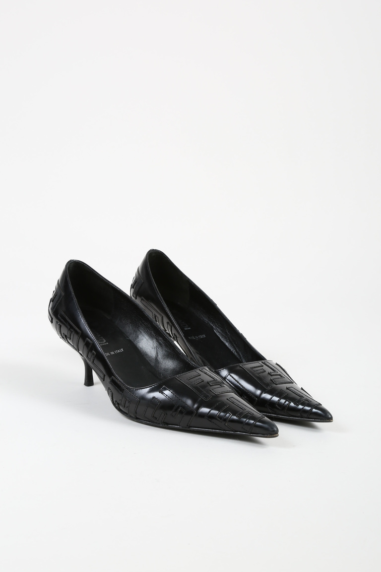 Black Leather Logo Patterned Pointed Toe Pumps
