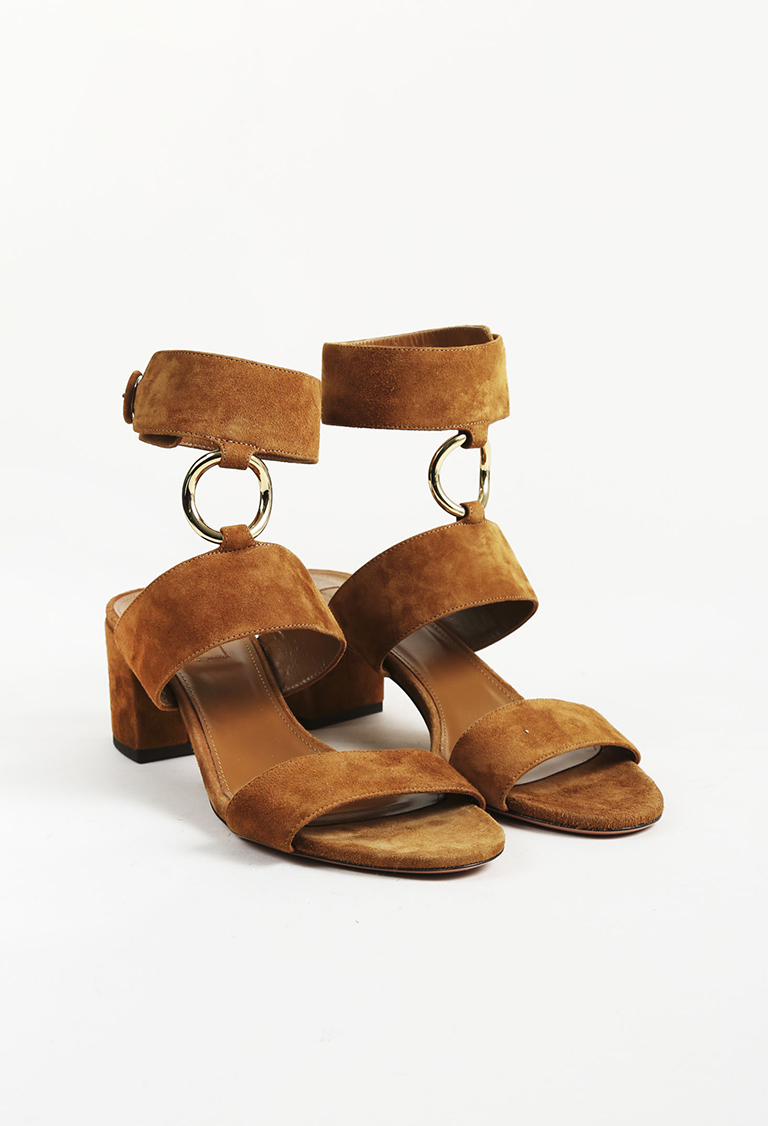 "Brown Suede ""Safari"" Ankle Strap Sandals"