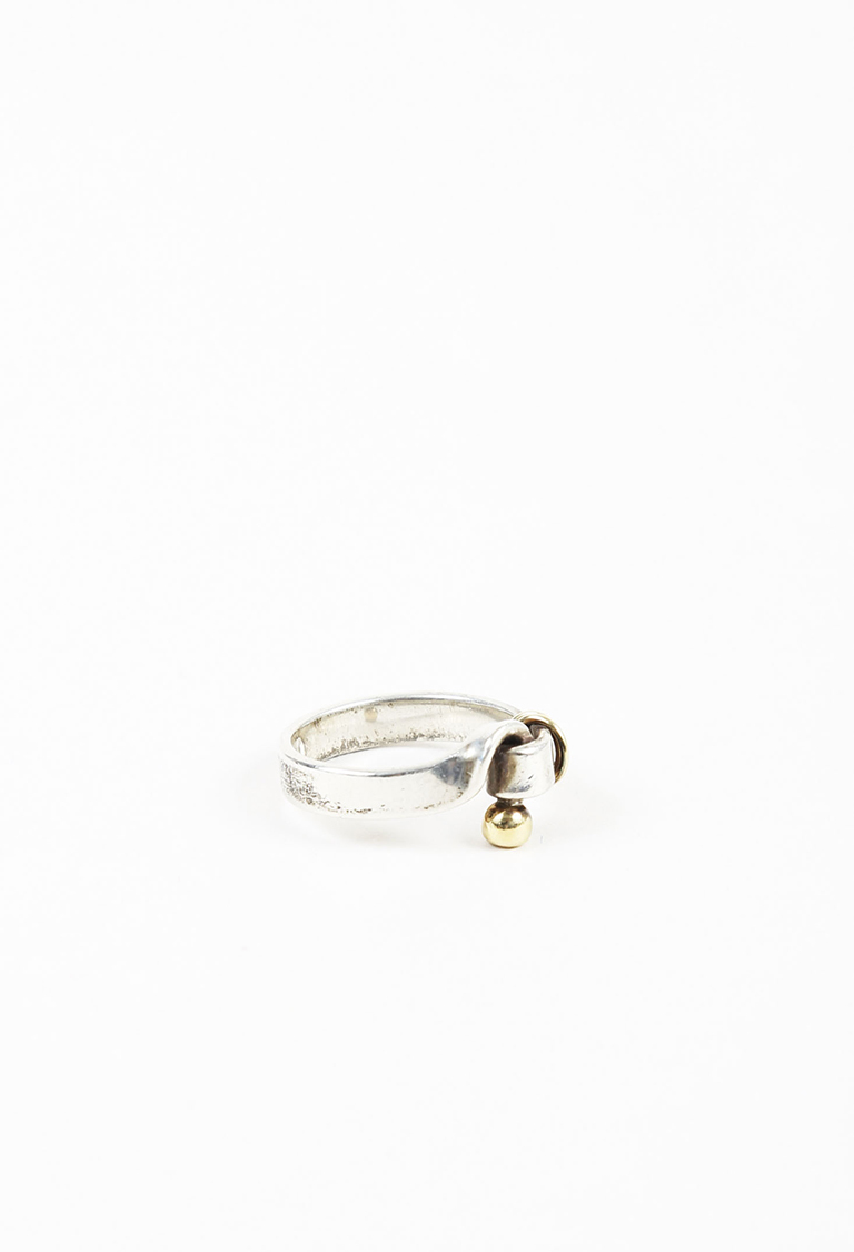 "Sterling Silver 18k Yellow Gold ""Hook and Eye"" Ring"