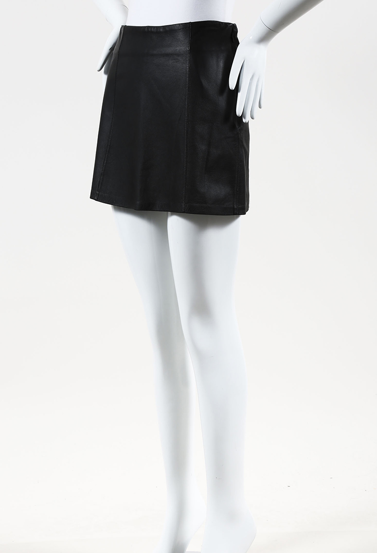 T by  Black Leather Mini Skirt