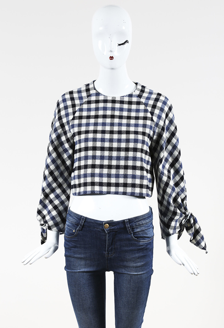 Blue Multicolor Cotton Blend Houndstooth Long Sleeve Top