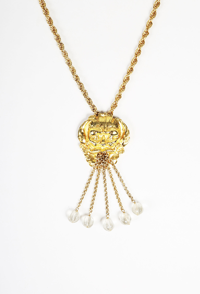 VINTAGE Gold Tone Beaded Relief Fountain Pendant Necklace