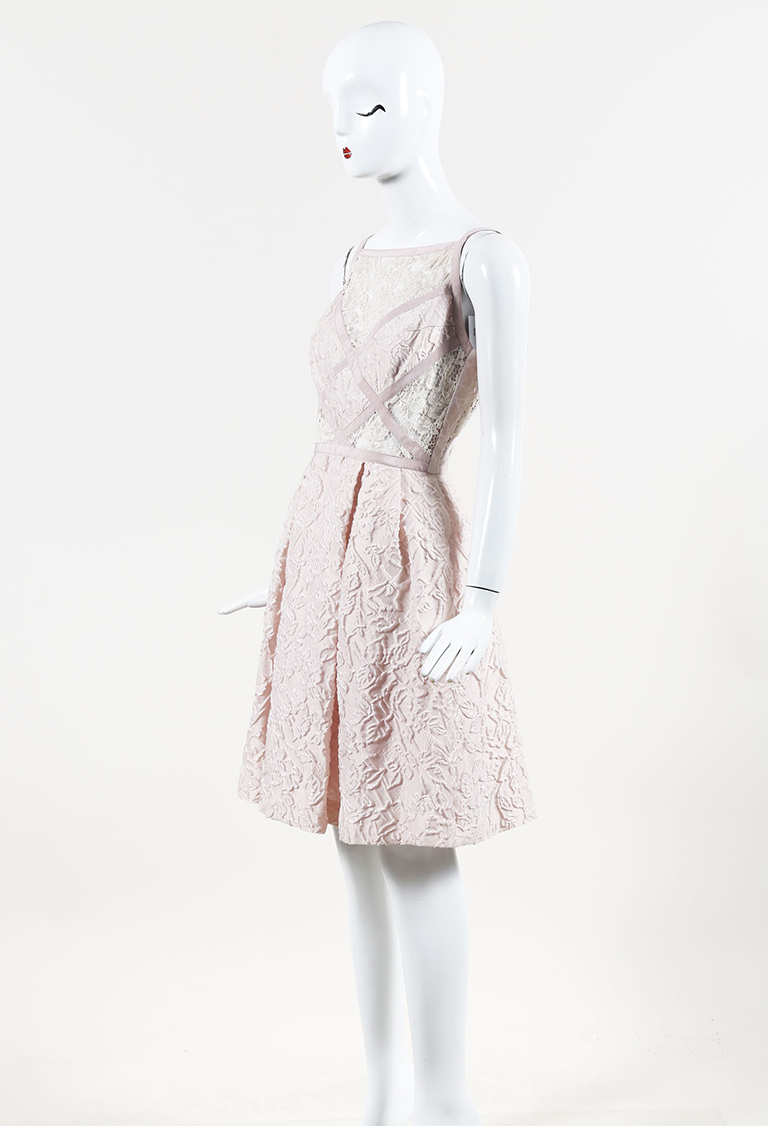 Pink Lace Pleated Cocktail Dress