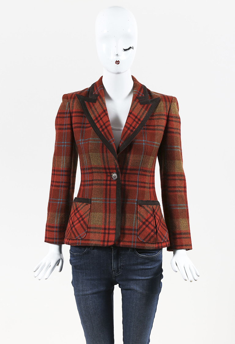 Orange Multicolor Wool & Suede Plaid Blazer