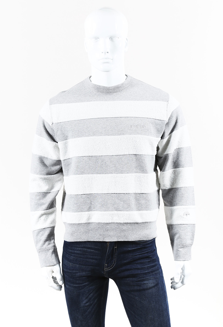 MENS  Gray & White Cotton Striped Sweatshirt