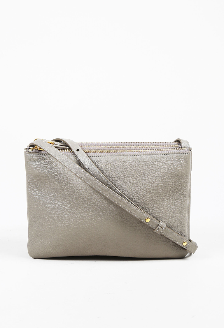 """Gray Lambskin Leather """"Small Trio"""" Shoulder Bag"""