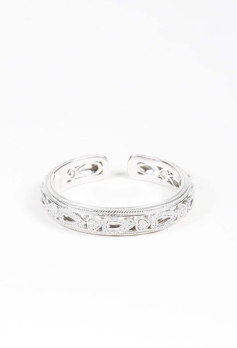 Sterling Silver Stainless Steel Heart Cuff Bracelet