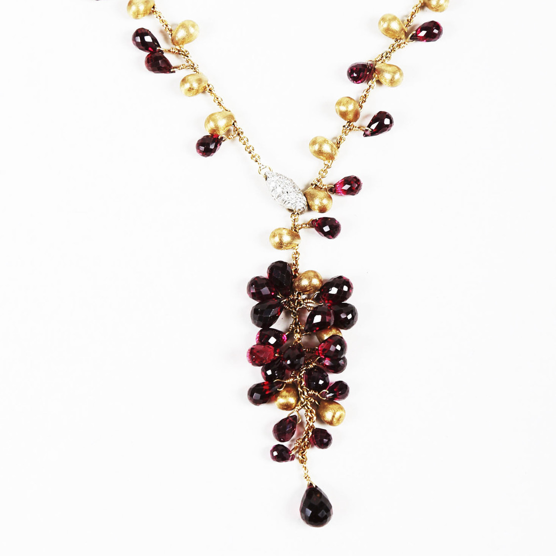 ea0ffad864d6a Details about Marco Bicego Red Garnet Diamond & 18k Yellow Gold