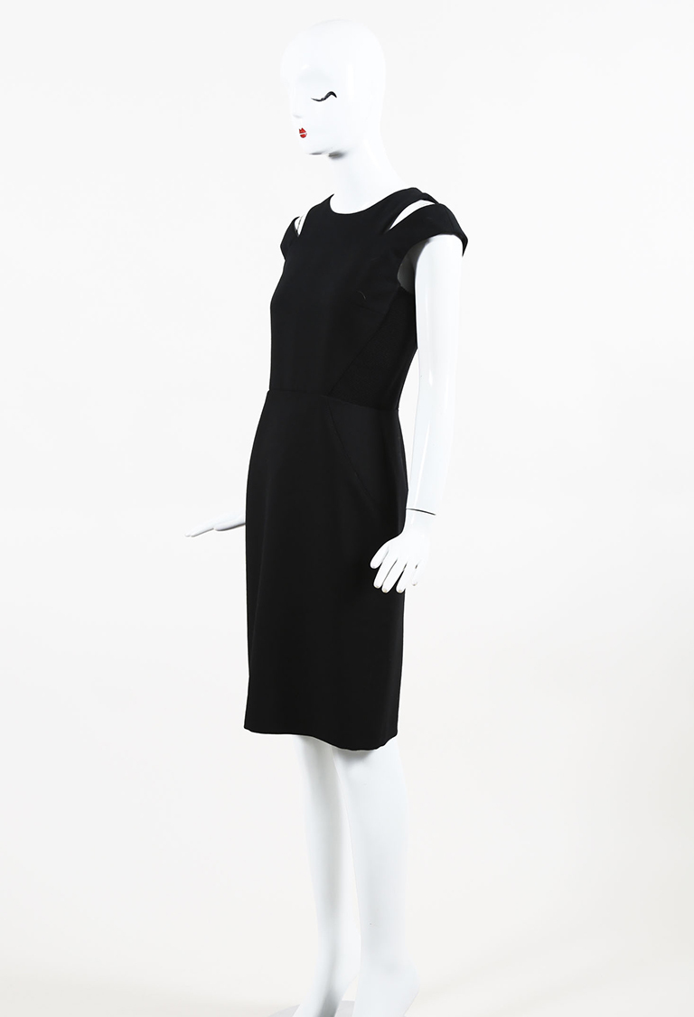 Black Wool Cutout Sheath Dress