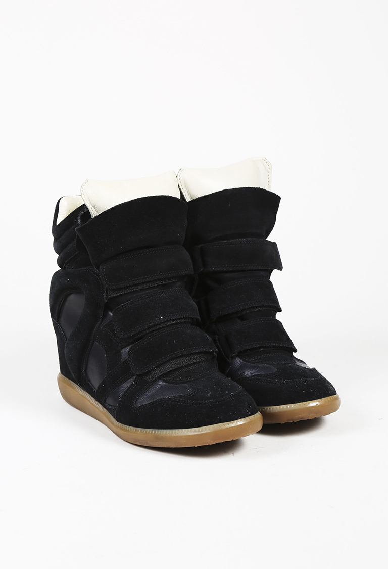 "Black Suede Wedge Heel ""Beckett"" Sneakers"