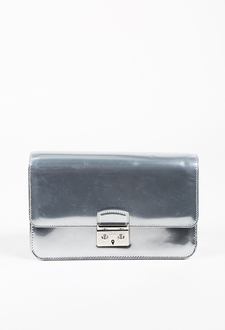 Silver Mirror Leather Miss Dior Promenade Crossbody Bag