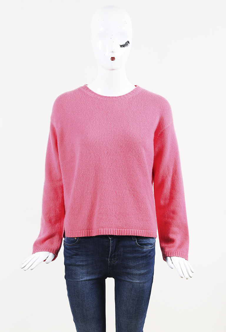 Pink Cashmere Crew Neck Long Sleeve Pullover Sweater