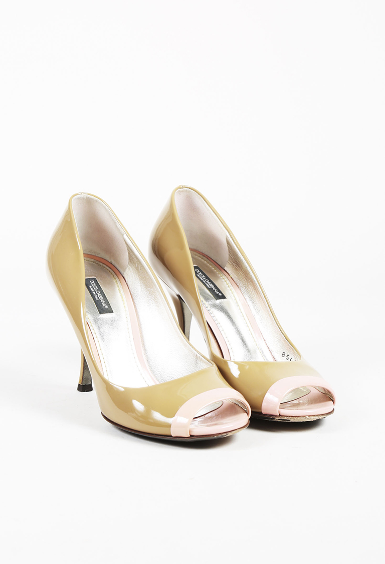 """Sabbia"" Beige & ""Rosa"" Pink Patent Leather Pumps"