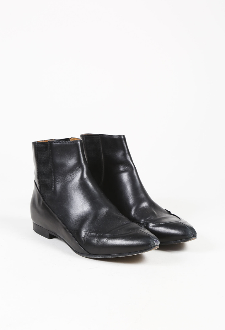 Black Leather Almond Toe Low Heel Ankle Boots