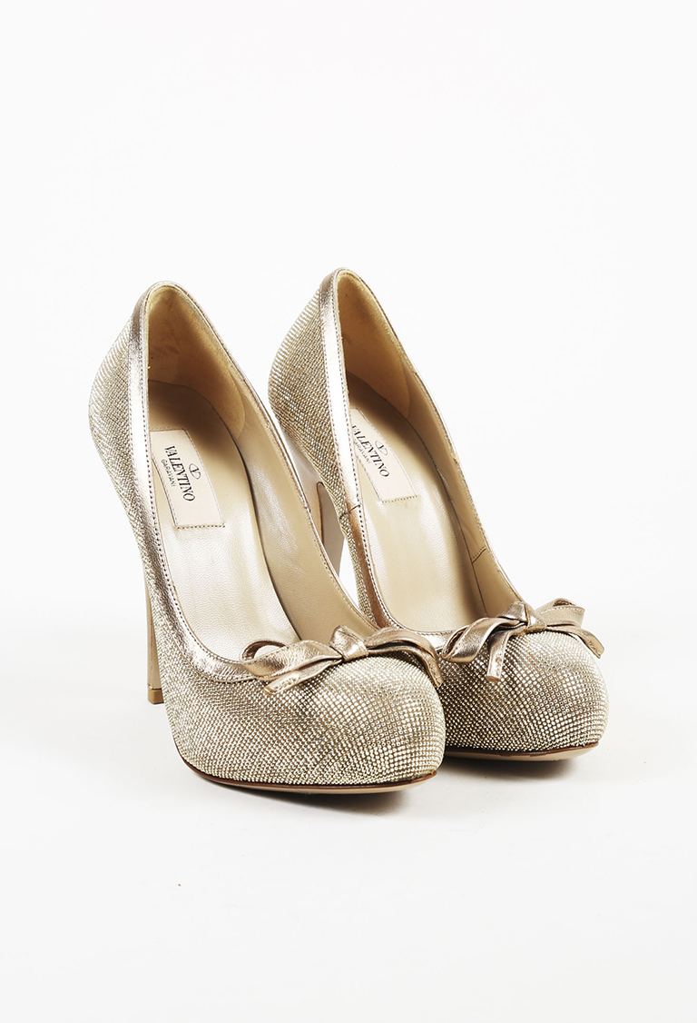Garavani Metallic Gold Suede Crystal Platform Pumps