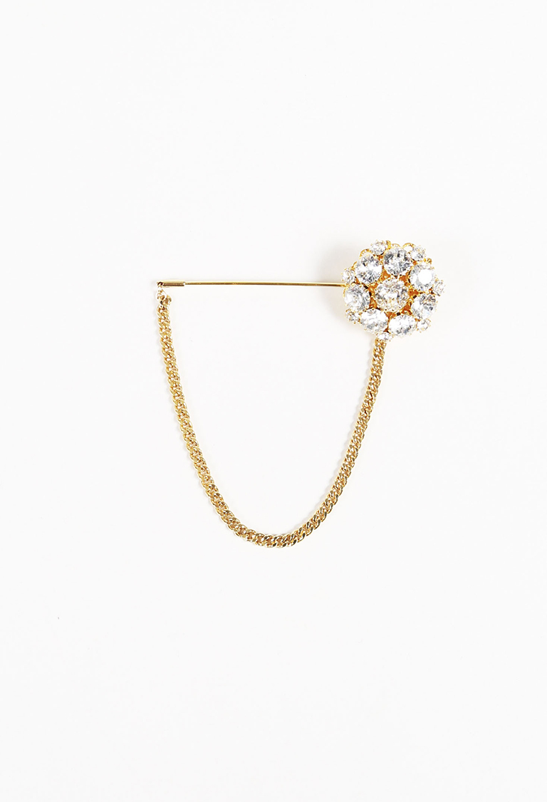 Gold Tone Crystal Enchained Pin
