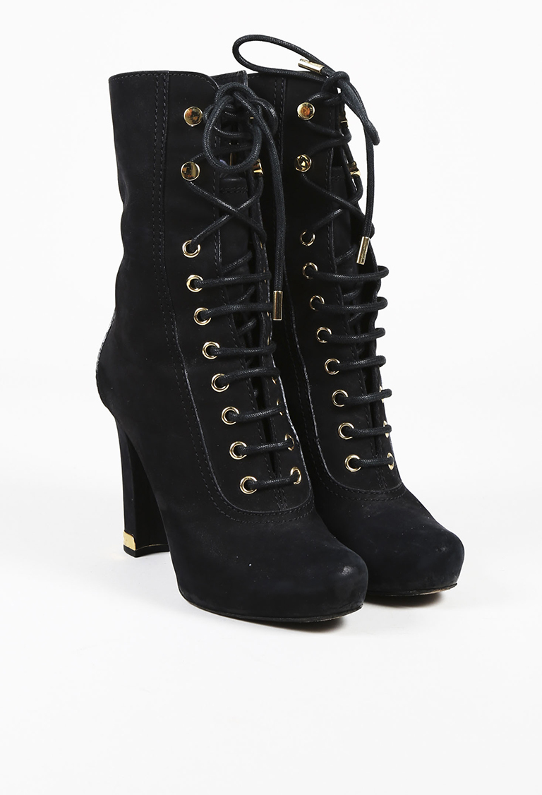 Black Leather Gold Tone Lace Up Ankle Boots