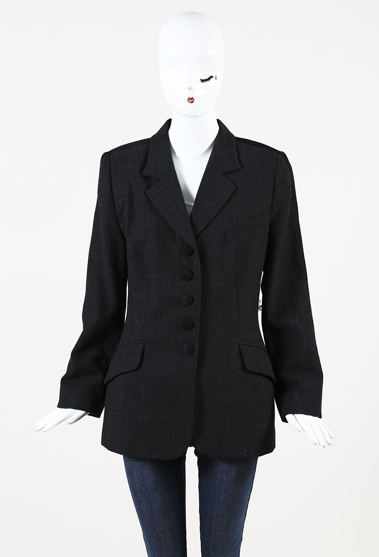 Gray Wool Striped Buttoned Front Jacket