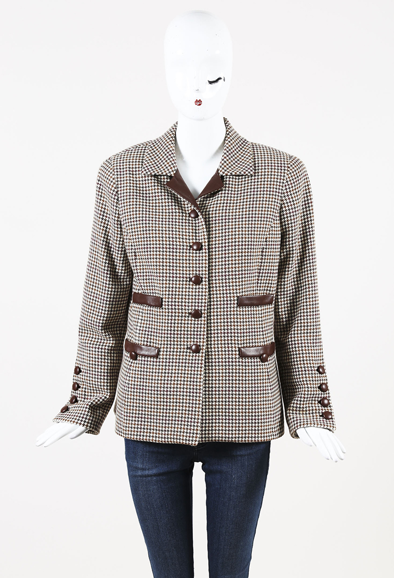 Brown White Houndstooth Wool & Leather Trimmed Jacket