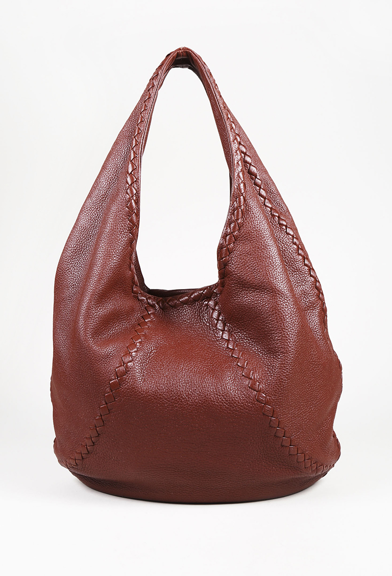 Red Cervo Leather Intrecciato Accented Hobo Bag