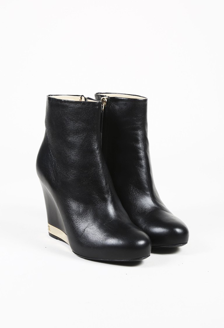 0b56548fab28 Black Leather Gold Tone Wedge Heel Ankle Boots | Luxury Garage Sale
