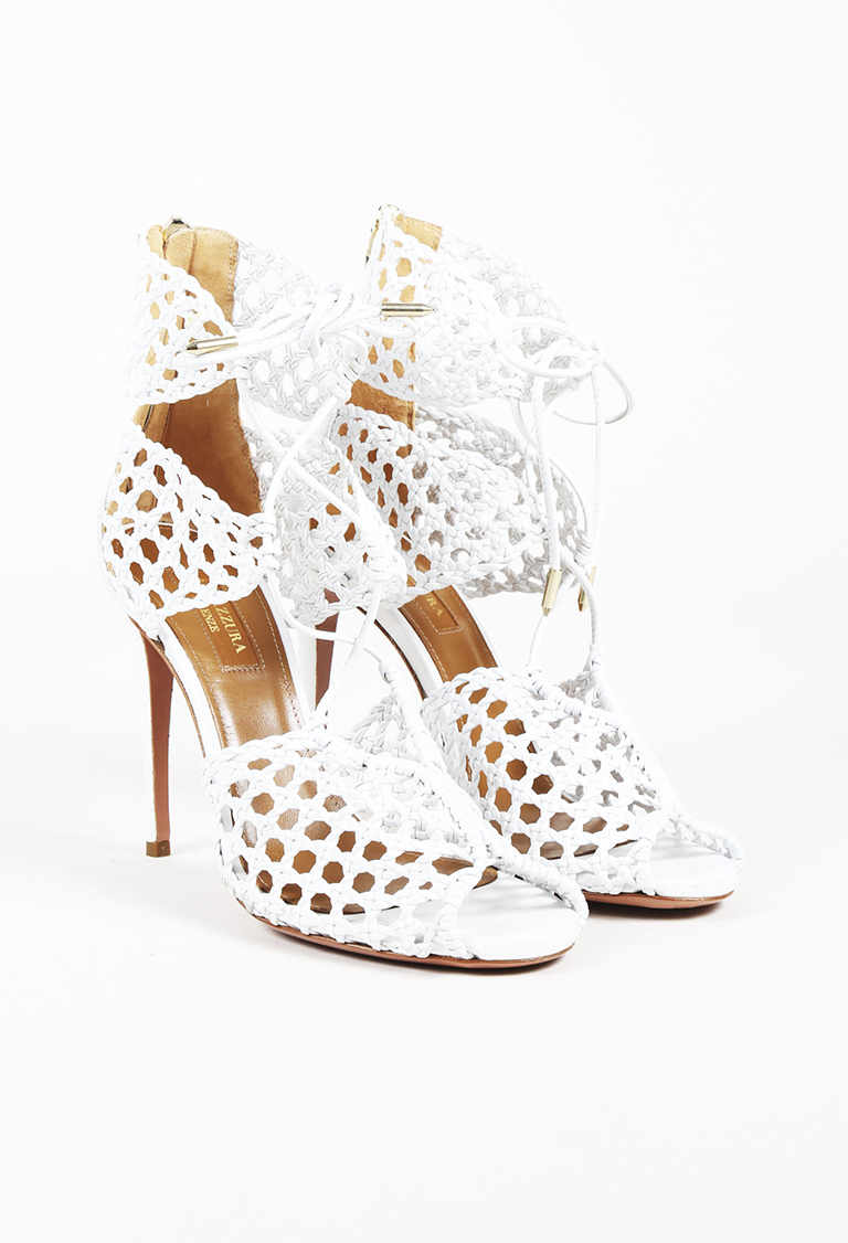 White Leather Lace Up Sandals