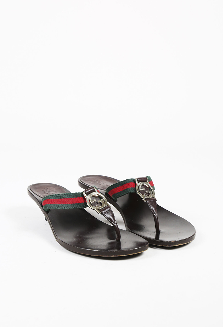 Brown Red   Green Leather Web Stripe Thong Sandals  773e83ff462e