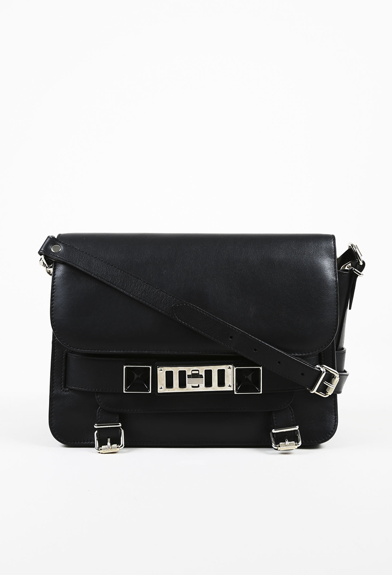 "Black Leather Classic ""PS11"" Flap Bag"