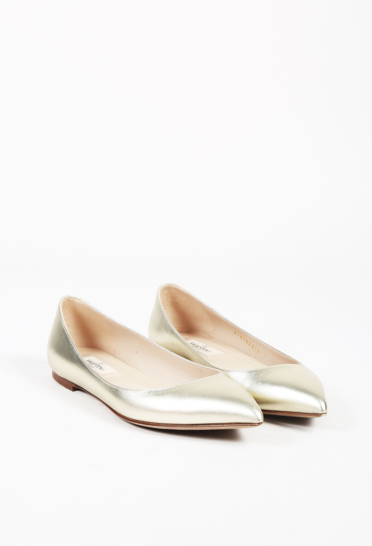 Garavani Metallic Gold Leather Rockstud Pointed Toe Flats
