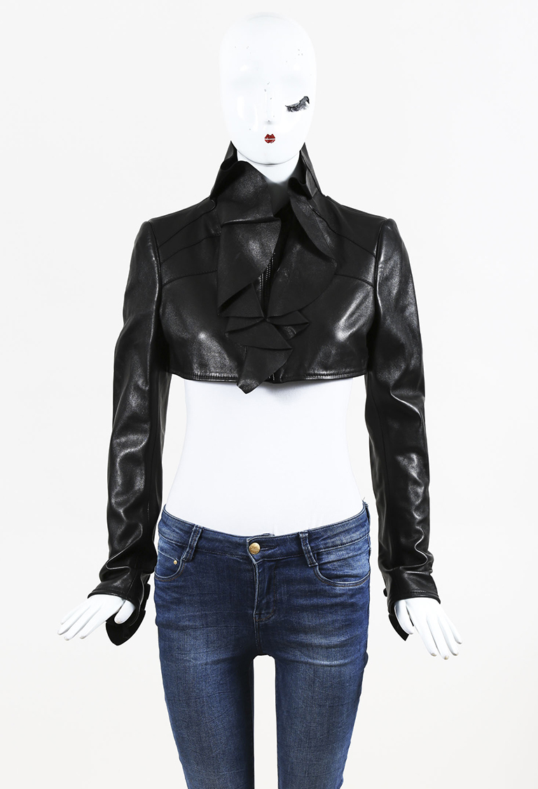 Black Leather Ruffled Cropped Jacket