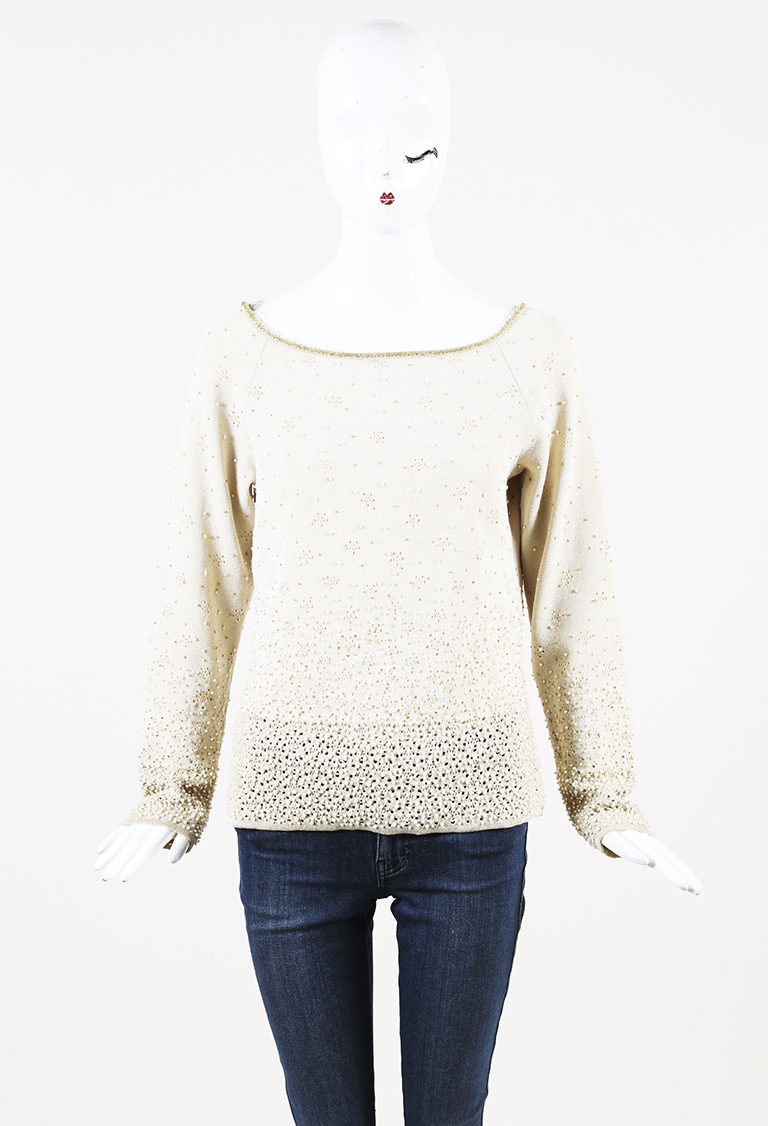 Beige Wool Blend Beaded Sweater
