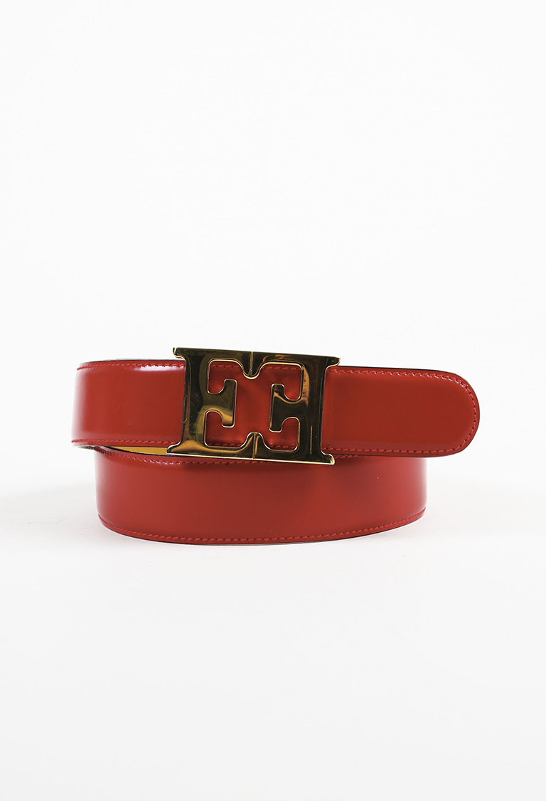 Red Leather Gold Tone Buckle Belt