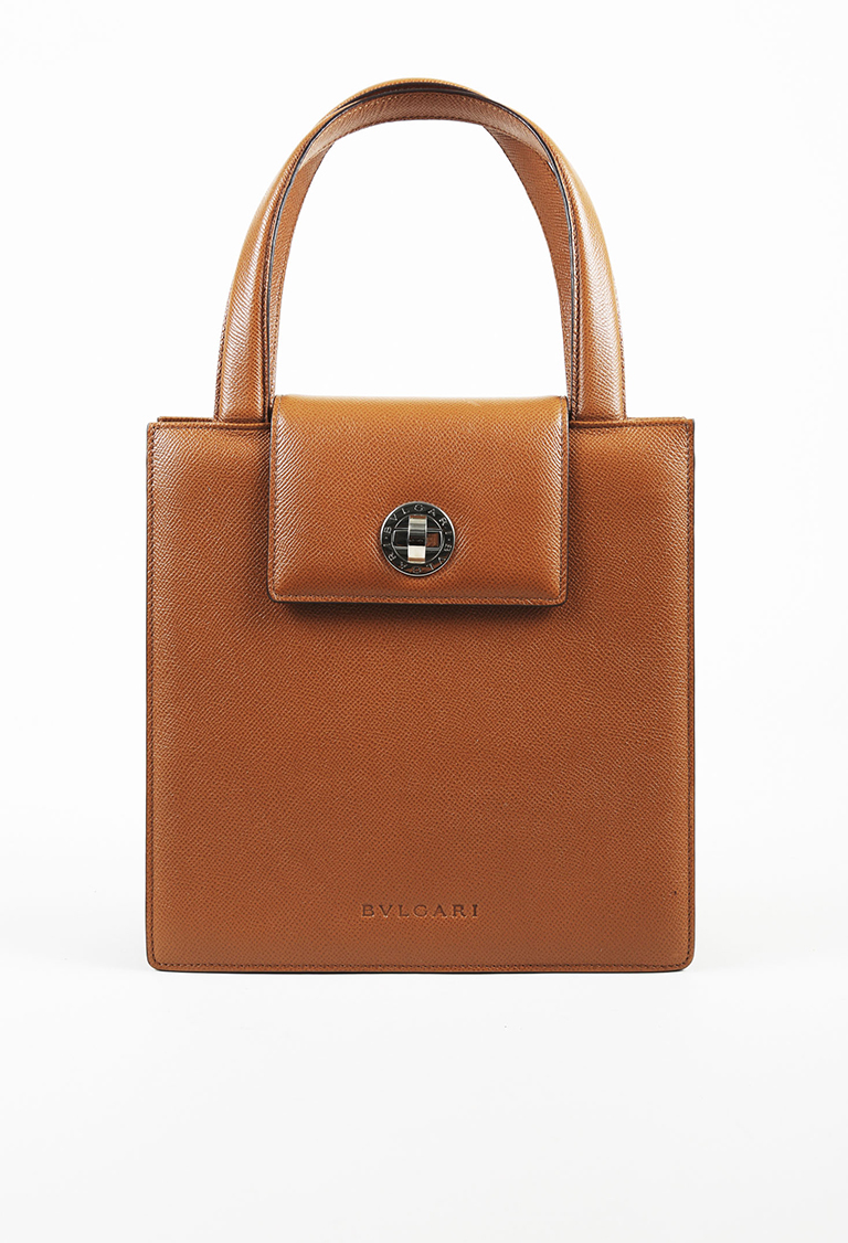 Brown Pebbled Calfskin Leather Top Handle Tote