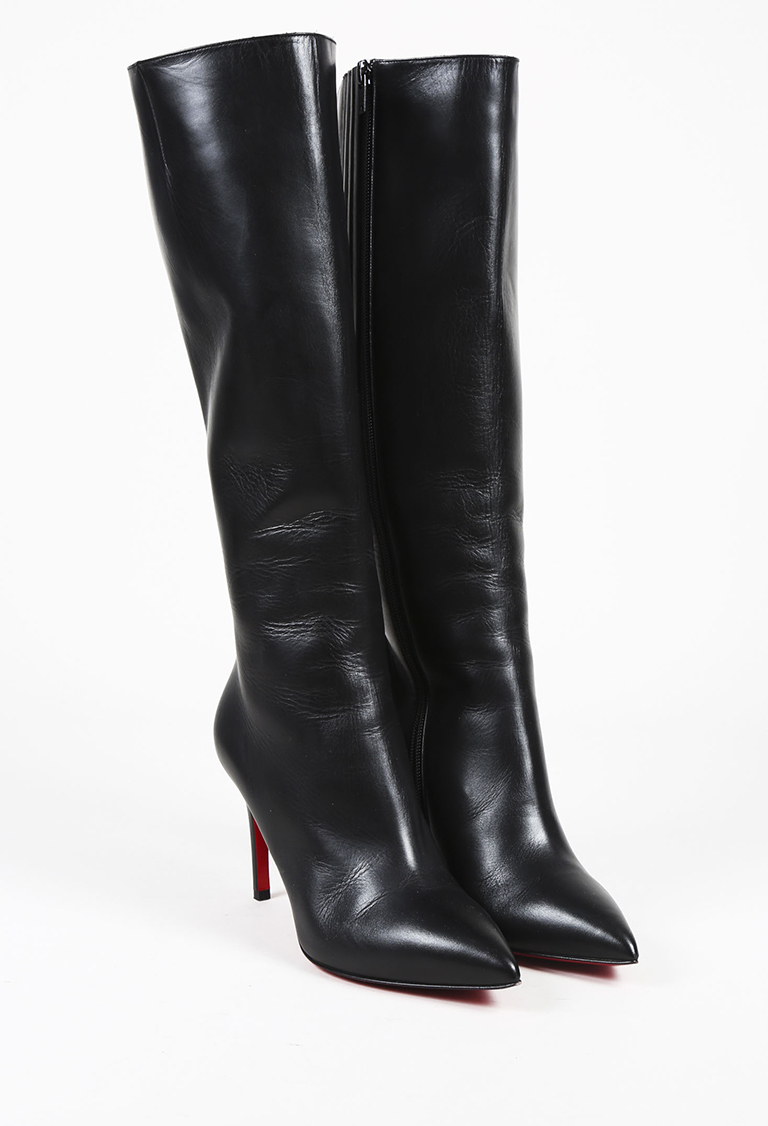 """Black Leather """"Tournoi"""" Knee High Pointed Boots"""