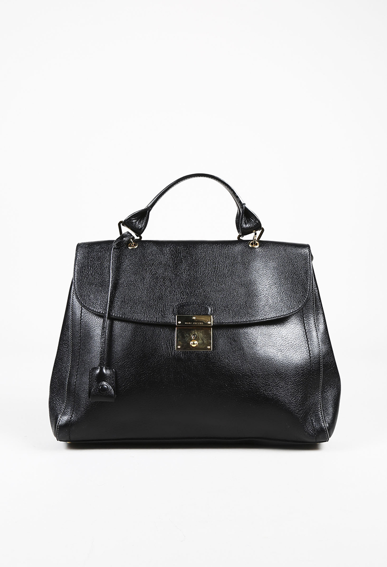 "Black Leather ""1984"" Satchel Bag"