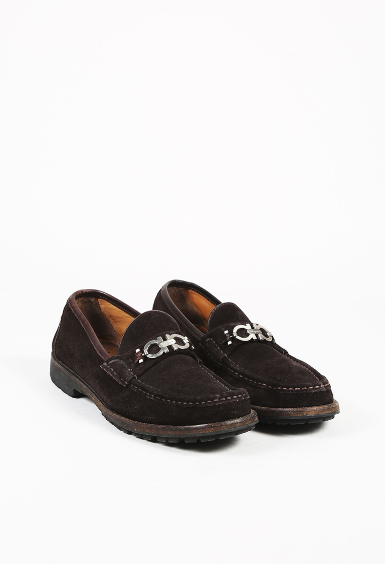 MENS  Brown Suede Silver Tone Loafer Flats