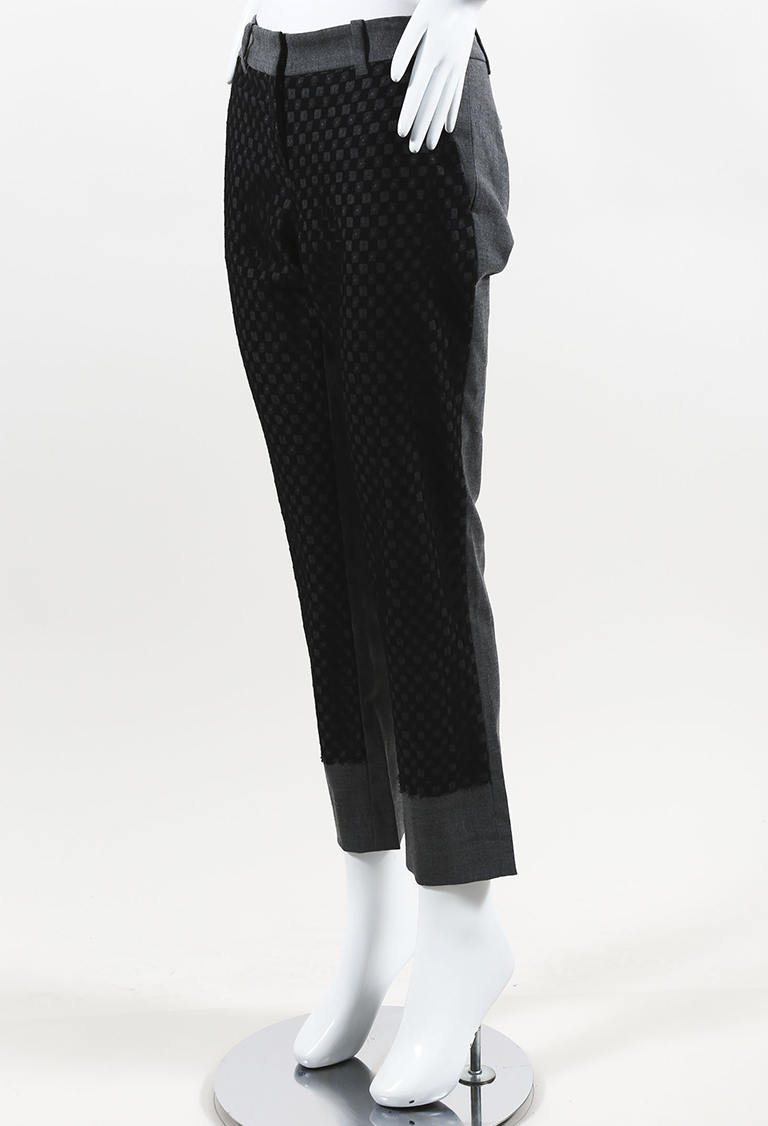 Gray & Black Wool Blend & Lace Matchstick Pants