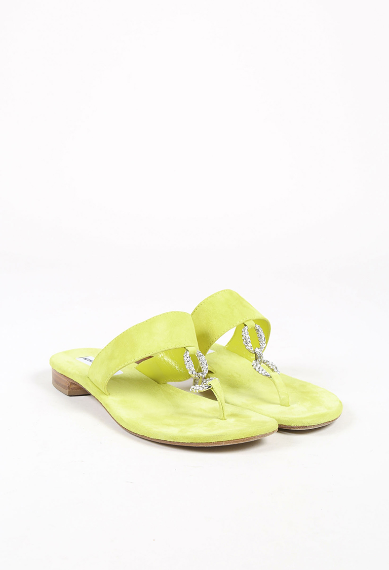 Yellow Suede Silver Tone Crystal Embellished Flat Sandals
