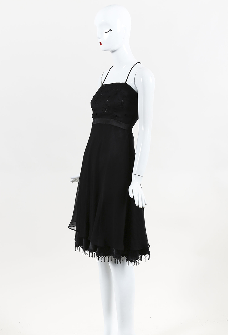 Black Silk Beaded Cross Strap Dress