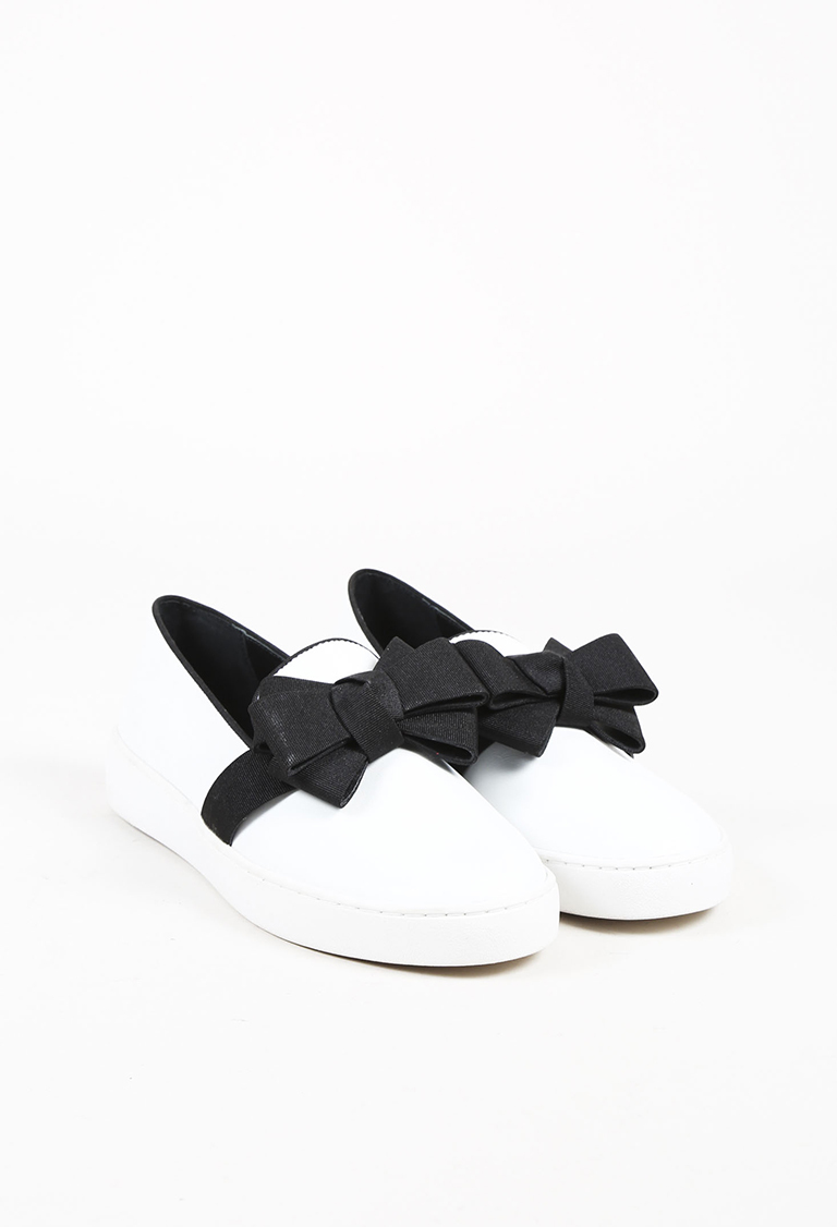 "White Black Leather Bow ""Val"" Slip On Sneakers"