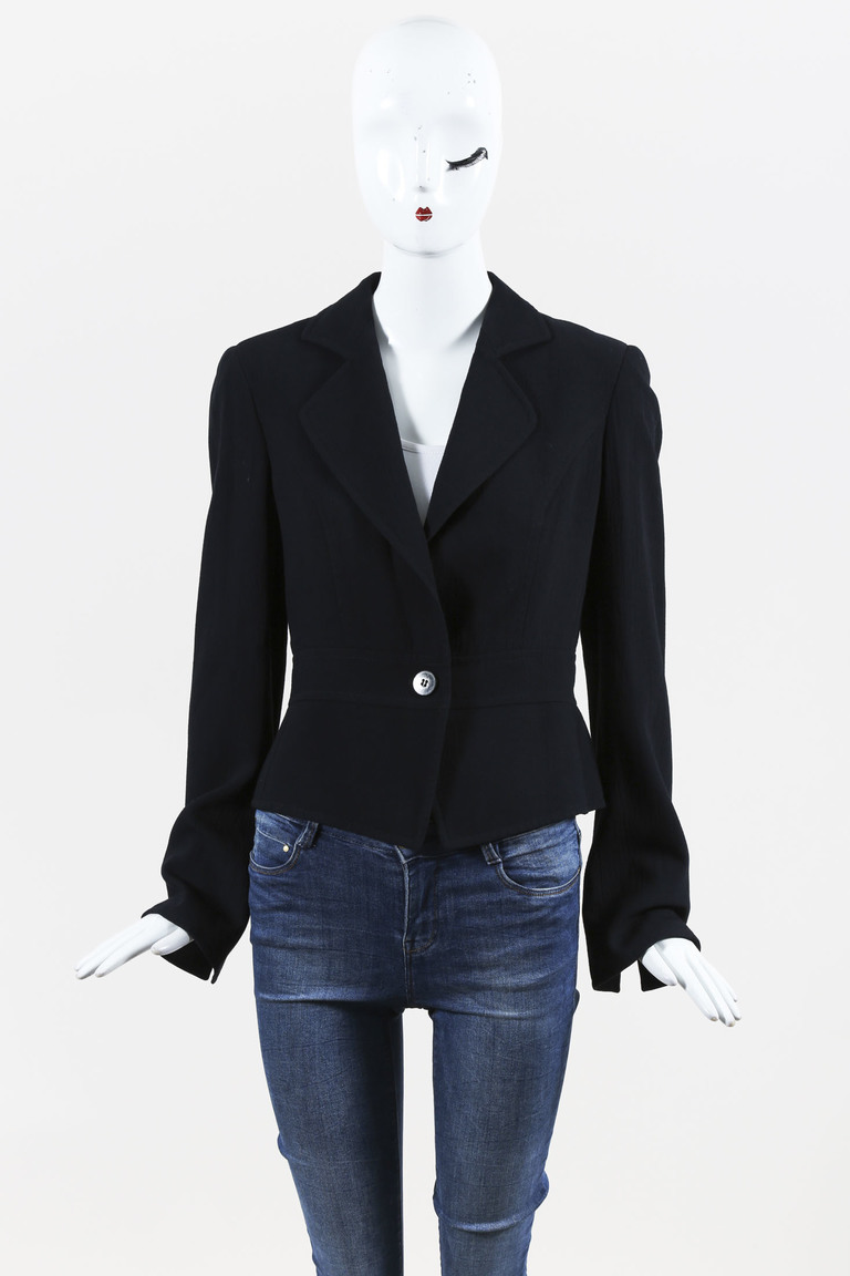 Armani Collezioni Black Wool Blend Single Button Jacket
