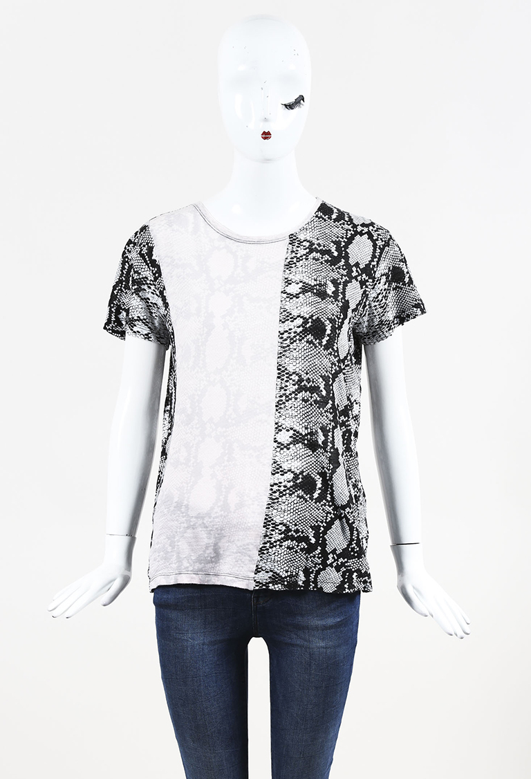 Black & Pink Cotton Snakeskin Print T Shirt