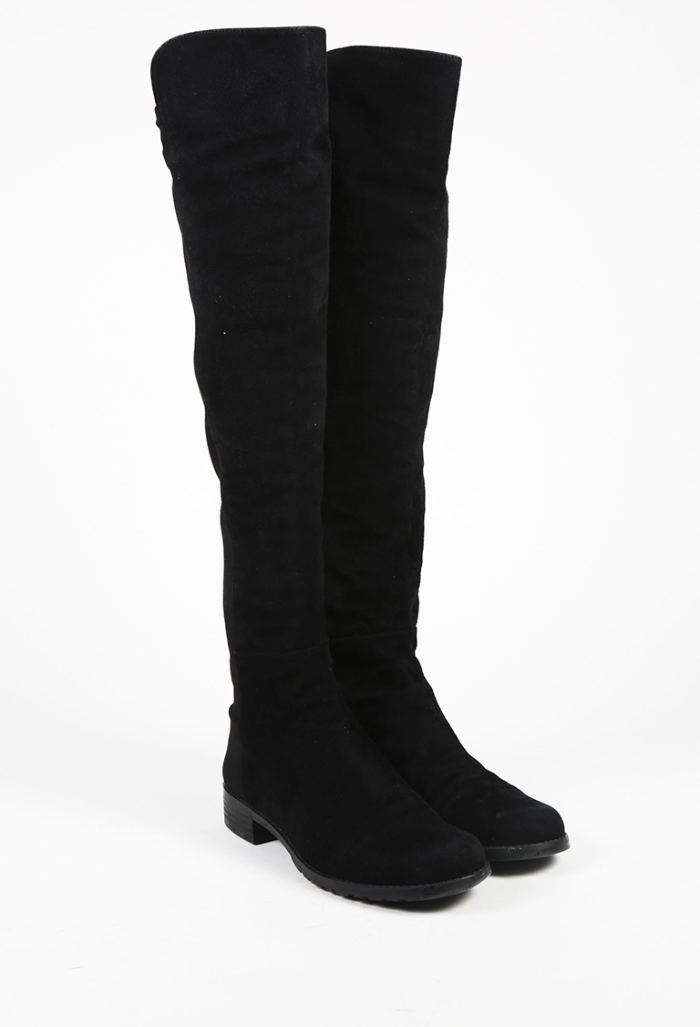 """Black Suede """"50/50"""" Over the Knee Boots"""