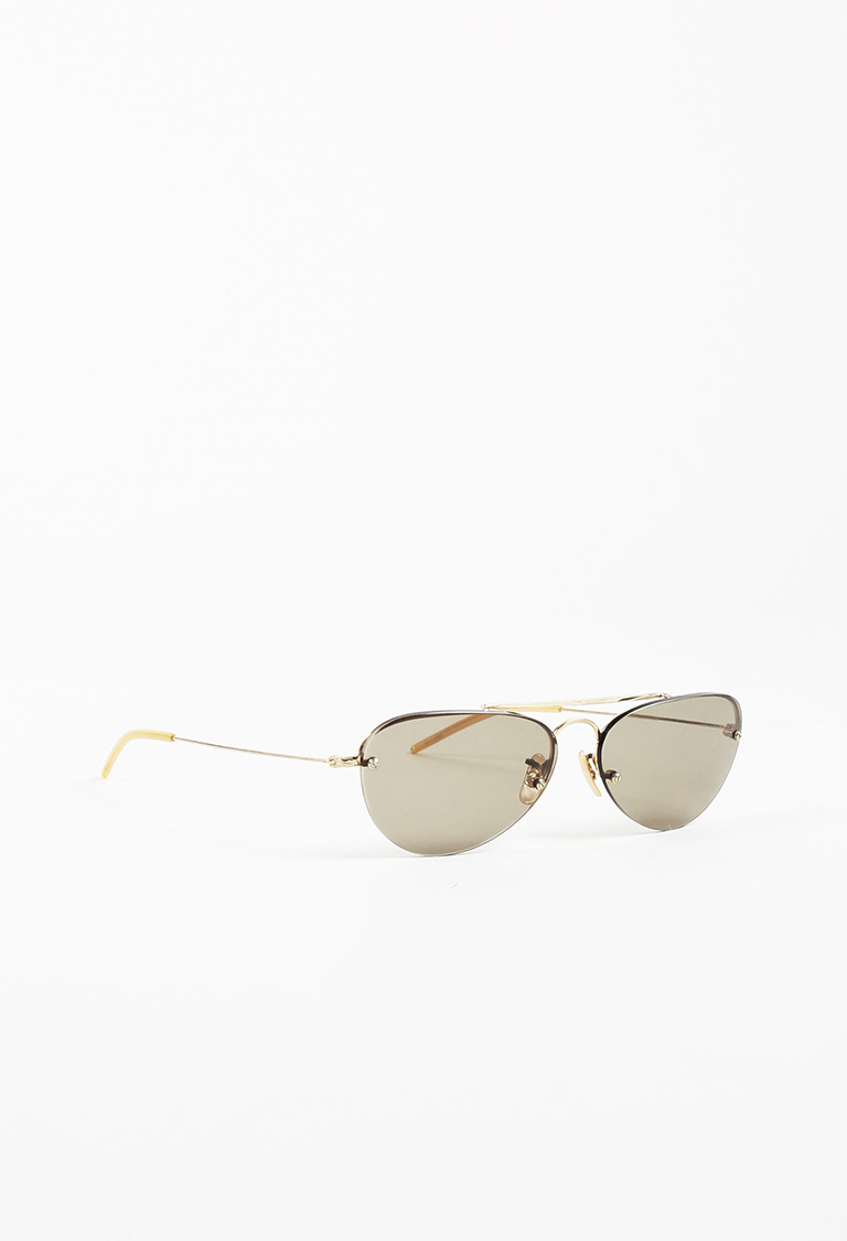 "Gold ""140 Challenger"" Small Round Sunglasses"
